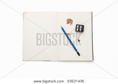 Open Blank Diary With Pencil, Sharpener And Pencil Shavings, Isolated On White