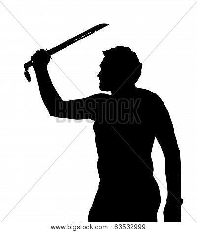Man Silhouette European Holding Samurai Sword