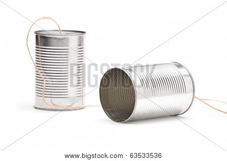 Studio shot of a tin can phone isolated on white background