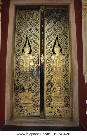 Thailand Ancient Mural Door Angel