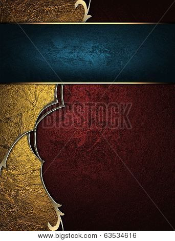 Abstract Red And Yellow Background With Blue Nameplate