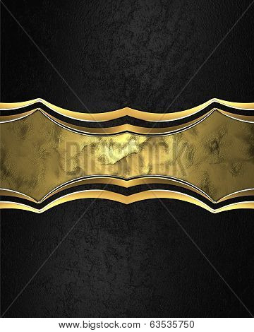 Black Background With Gold Beautiful Abstract Plate For Text