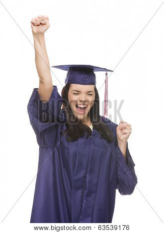 Happy Graduating Mixed Race Female Wearing Cap and Gown Cheering Isolated on a White Background.
