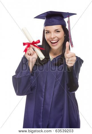 Happy Graduating Mixed Race Female Wearing Cap and Gown with Her Diploma Isolated on White Background.