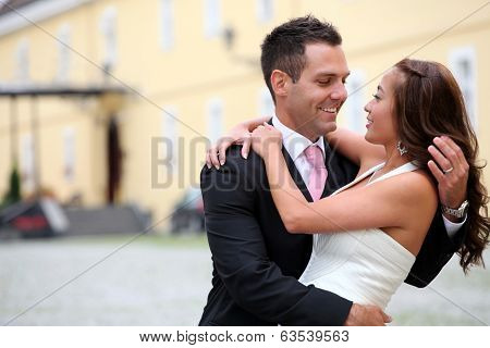 Portrait Of A Young Bride And Groom
