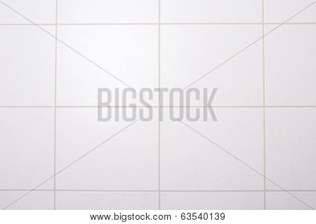 Background Of White Tiled Wall In Bath