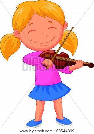 Little girl cartoon playing violin
