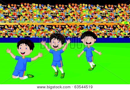 Children cartoon celebrate his goal