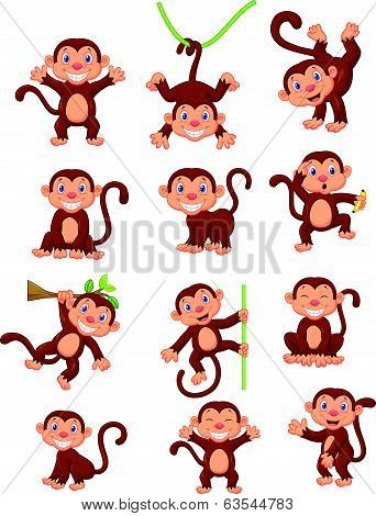 Happy monkey cartoon collection set