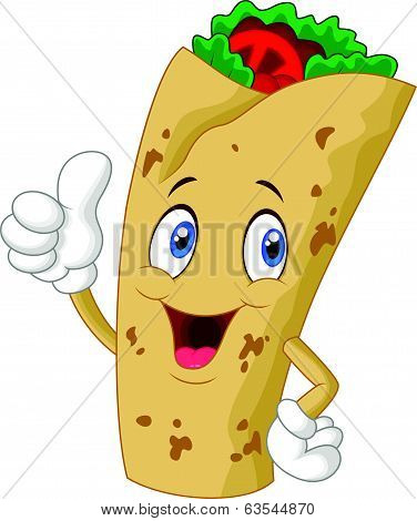 Burrito cartoon character giving thumbs up