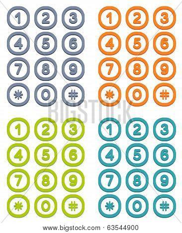 Set Of 4 Colorful User Interface Keypad