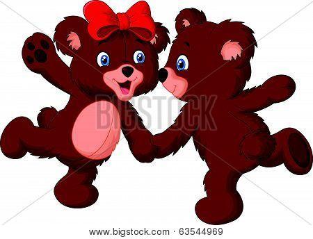 Cute bear couple cartoon dancing