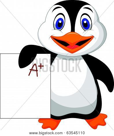 Cute penguin cartoon showing A plus grade