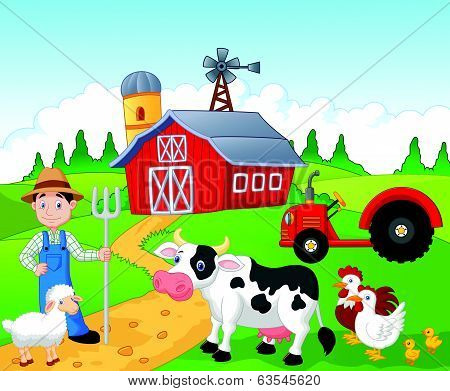 Farmer cartoon working in the farm