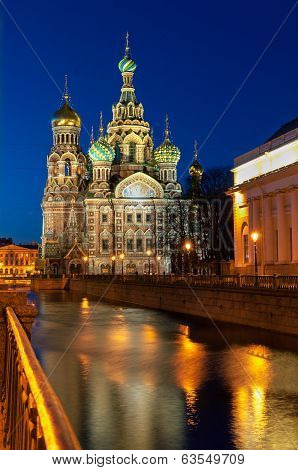 Church Of The Savior On Blood At Nighr, St Petersburg, Russia