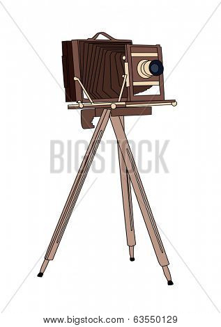 Wooden classic retro camera on tripod Vector illustration