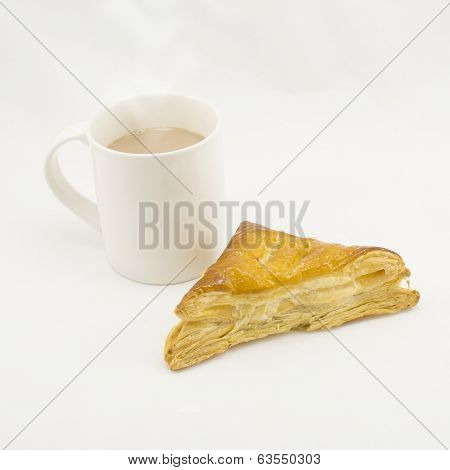 Pie And Cup Of Hot Chocolate On White Background