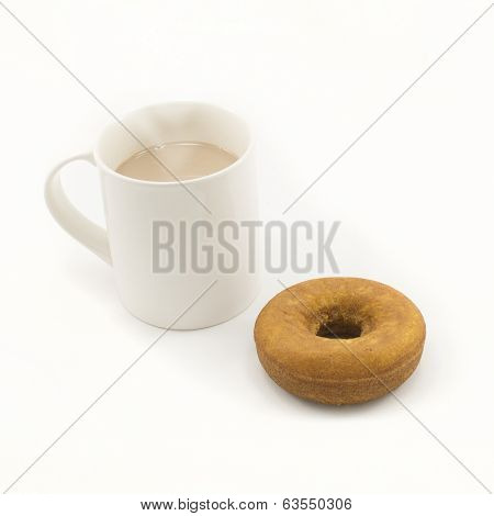 Donut And Cup Of Hot Chocolate On White Background