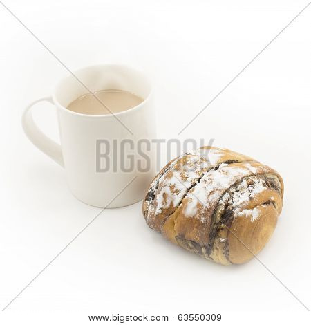 Bread And Cup Of Hot Chocolate On White Background