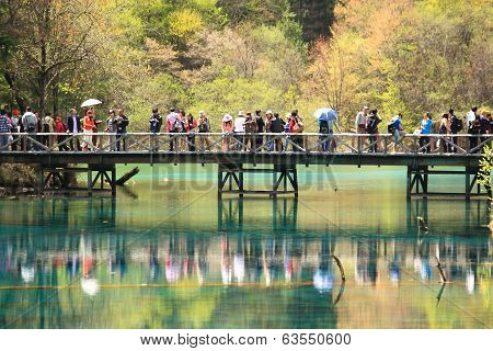 Tourists Jiuzhaigou National Park China
