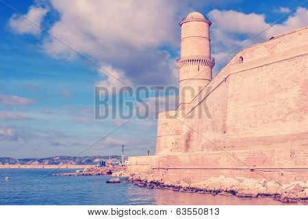 View Of Fort St. Jean In Marseille With The Sea
