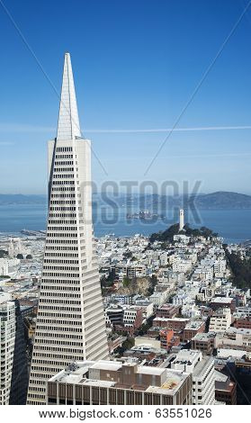 Areal view on Transamerica pyramid and city of San Francisco