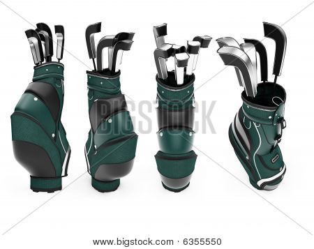 Collage Of Isolated Golf Bag