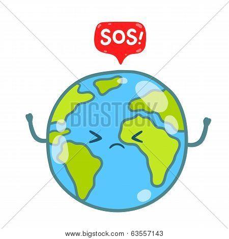 Cartoon Earth globe with SOS message