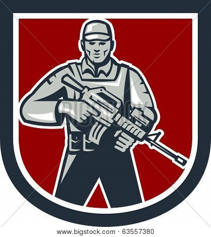 Soldier Serviceman With Assault Rifle Shield