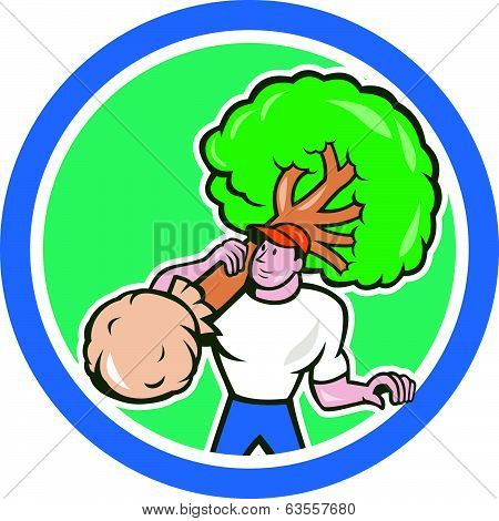 Gardener Arborist Carrying Tree Cartoon