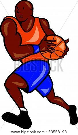 Basketball Player Holding Ball Cartoon