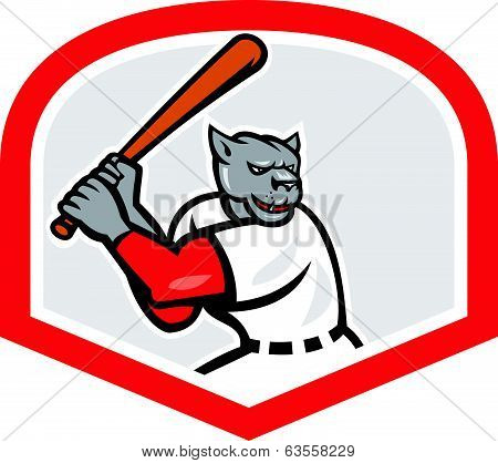 Black Panther Baseball Player Batting Cartoon
