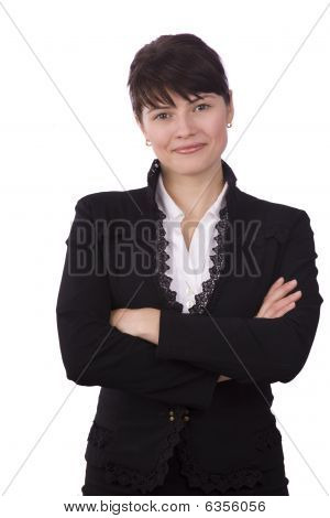 Brunette Businesswoman Dressed In Black Suit.