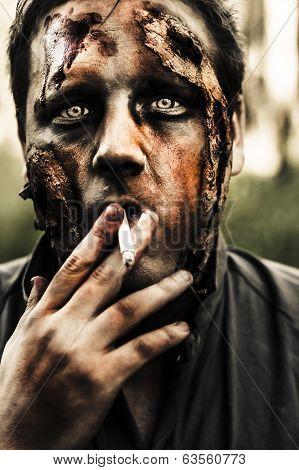 Evil Dead Zombie Smoking Cigarette Outside