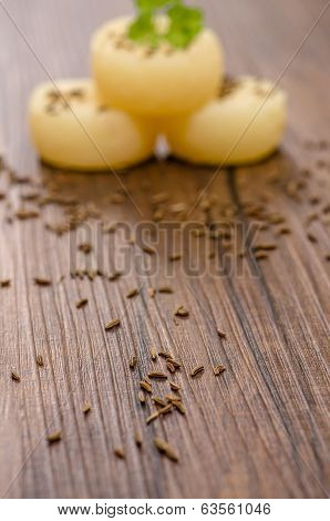 Caraway Seeds On Wood