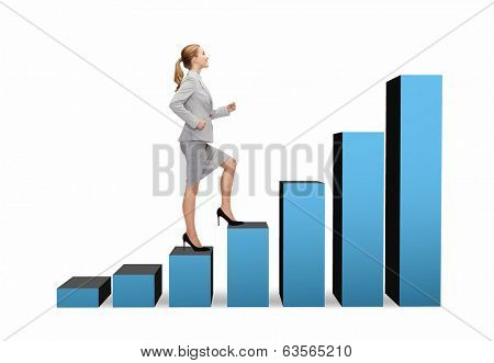business and education concept - smiling businesswoman stepping on chart bar