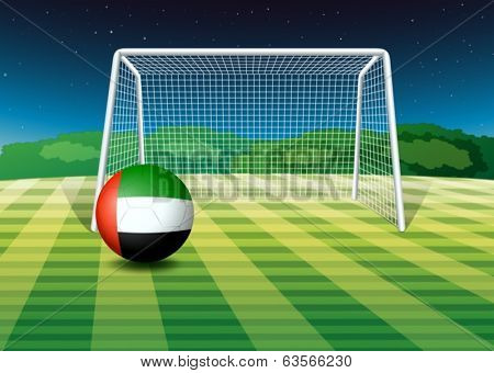Illustration of a soccer ball at the field with the UAE flag