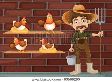 Illustration of a farmer beside the four hens