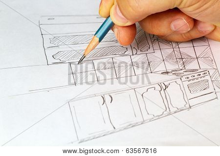 Sketch of kitchen furniture