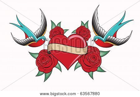 heart tattoo emblem with swallows