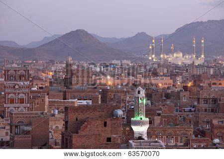 Old Sanaa  view and Al Saleh Mosque, Yemen