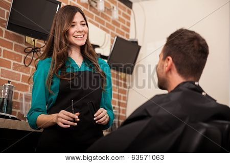 Beautiful Hairstylist At Work
