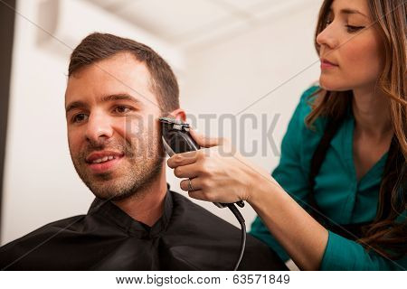 Young Man In A Hair Salon