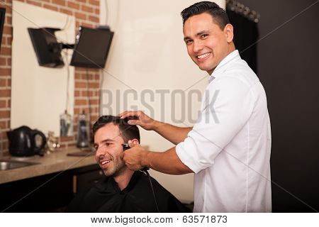 Happy Barber Enjoying Work