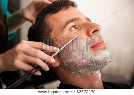 Closeup Of A Man Getting Shaved
