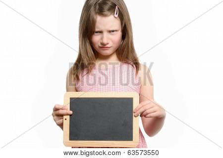 Angry Scowling Little Girl Holding A Blank Slate