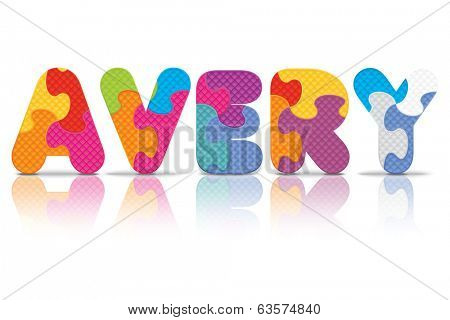 AVERY written with alphabet puzzle - vector illustration