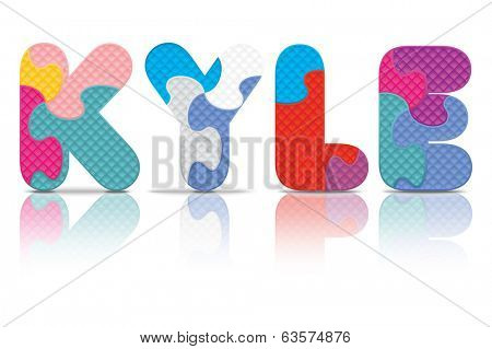KYLE written with alphabet puzzle - vector illustration