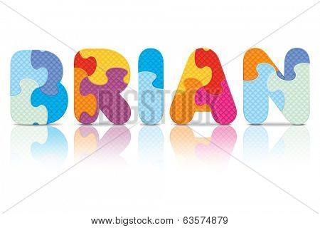 BRIAN written with alphabet puzzle - vector illustration