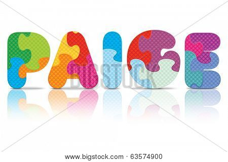 PAIGE written with alphabet puzzle - vector illustration